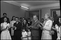 7 Juillet 1969. Vue de la réception de Madame et Monsieur Pompidou à la mairie de Cajarc.