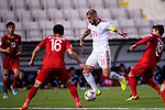 Seyed Ashkan Dejagah of Iran (2nd R) is challenged by Nguyen Quang Hai (R) during the AFC Asian Cup UAE 2019 Group D match between Vietnam (VIE) and I.R. Iran (IRN) at Al Nahyan Stadium on 12 January 2019 in Abu Dhabi, United Arab Emirates. Photo by Marcio Rodrigo Machado / Power Sport Images