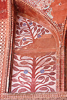 Fatehpur Sikri, Uttar Pradesh, India.  Painted Floral Decoration inside the Entrance to the Prayer Hall of the Jama Masjid (Dargah Mosque).