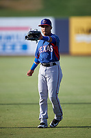 AZL Rangers Derwin Barreto (8) warms up before an Arizona League game against the AZL Brewers Blue on July 11, 2019 at American Family Fields of Phoenix in Phoenix, Arizona. The AZL Rangers defeated the AZL Brewers Blue 5-2. (Zachary Lucy/Four Seam Images)