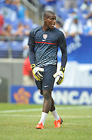 Bill Hamid (22) of the USMNT during pe-game warmups.  The USMNT defeated El Salvador 5-1 at the quaterfinal game of the Concacaf Gold Cup, M&T Stadium, Sunday July 21 , 2013.