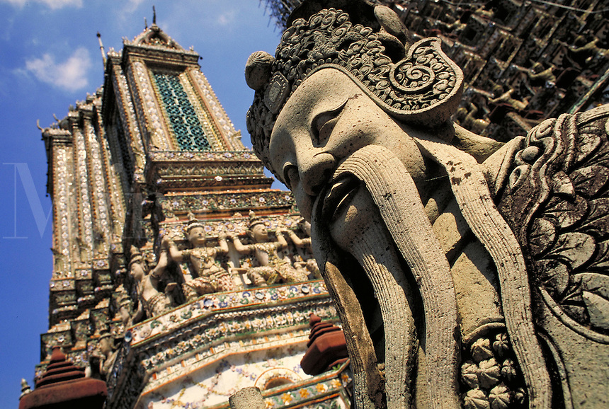 Stone sculpture on exterior of the Grand Palace. Bangkok, Thailand.