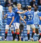 25.07.2020 Rangers v Coventry City: Filip Helander and Scott Arfield at full time
