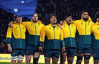 The Wallabies sing the national anthem during the Bledisloe Cup rugby match between the New Zealand All Blacks and Australia Wallabies at Eden Park in Auckland, New Zealand on Saturday, 7 August 2021. Photo: Dave Lintott / lintottphoto.co.nz