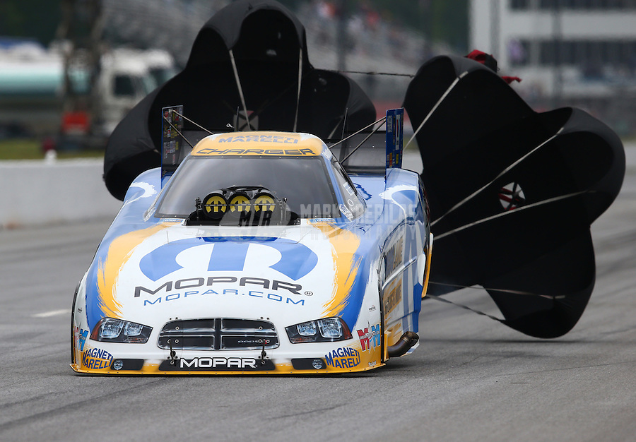 May 19, 2014; Commerce, GA, USA; NHRA funny car driver Matt Hagan during the Southern Nationals at Atlanta Dragway. Mandatory Credit: Mark J. Rebilas-USA TODAY Sports