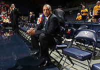 Jan. 2, 2011; Charlottesville, VA, USA; LSU Tigers head coach Trent Johnson watches his players practice before the start of the game against the Virginia Cavaliers at the John Paul Jones Arena. Virginia won 64-50. Mandatory Credit: Andrew Shurtleff-