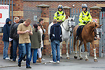 Pix: Shaun Flannery/shaunflanneryphotography.com...COPYRIGHT PICTURE>>SHAUN FLANNERY>01302-570814>>07778315553>>..7th May 2011..............South Yorkshire Police 'mounted' officers on crowd control outside a football ground.