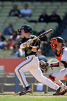 February 28 2010: Bryan Johns of Vanderbilt  during game against Oklahoma State at Dodger Stadium in Los Angeles,CA.  Photo by Larry Goren/Four Seam Images