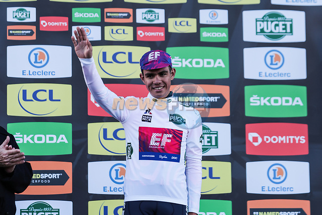 Sergio Andre Higuita (COL) EF Pro Cycling takes over the young riders White Jersey on the podium at the end of Stage 2 of the 78th edition of Paris-Nice 2020, running 166.5km form Chevreuse to Chalette-sur-Loing, France. 9th March 2020.<br /> Picture: ASO/Fabien Boukla | Cyclefile<br /> All photos usage must carry mandatory copyright credit (© Cyclefile | ASO/Fabien Boukla)