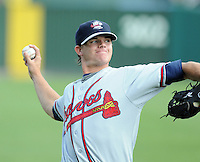 Pitcher Jarrett Miller (11) of the Rome Braves, Class A affiliate of the Atlanta Braves, prior to the first game of a doubleheader against the Greenville Drive on August 15, 2011, at Fluor Field at the West End in Greenville, South Carolina. (Tom Priddy/Four Seam Images)