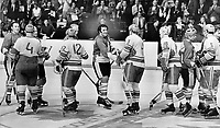 Team Canada players were not informed about the hand-shaking ceremony before Montreal meeting with the Soviet hockey team<br /> <br /> Photo : Boris Spremo - Toronto Star archives - AQP