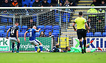 St Johnstone v Dundee…02.10.21  McDiarmid Park.    SPFL<br />Chris Kane scores his second goal<br />Picture by Graeme Hart.<br />Copyright Perthshire Picture Agency<br />Tel: 01738 623350  Mobile: 07990 594431