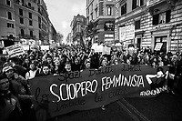 """""""Spaces, Rights, Freedom. The Feminist Strke Invades the City"""" (Spazi Diritti Libertà Lo Sciopero Femminista invade la Città).<br /> <br /> Rome, 08/03/2019. Today, """"NonUnaDiMeno"""" (Not One Woman Less) held the """"transfeminist global strike"""" (8 Marzo Sciopero Globale Transfemminista #NoiScioperiamo) in Central Rome. The massive demonstration saw tens of thousands of people 50,000+ for the organisers) marching peacefully (and loudly from Piazza Vittorio Emanuele II to the Fori Imperiali. The Protest - which marked the International Women's Day 2019 - was organised contemporary in several squares across Italy (and in more than 70 Countries across the world) and held while Italy was hit by a Workers' Strike. The aim of the demo was to be in support and solidarity with all the women, against the Pillon Law (DDL N. 735 made by League/Lega Senator Simone Pillon, https://bit.ly/2z4zD4g) about families and all the policies of the FiveStar-League (Movimento 5 Stelle – Lega) coalition Government, labelled as """"patriarchal, authoritarian and racist, a proper war against women, migrants and lgbt*qia+"""", demanding the end to male and gender-based violence against women and the feminicides, fighting for the living wage for all women, supporting abortion's rights (via protecting the Legge 194 – Law 194 - Source Wikipedia.org - https://bit.ly/2TEbdKp) and self-determination, and to end all forms of gender discrimination and against women.<br /> <br /> For more info please click here: https://bit.ly/2u0fAkG & https://nonunadimeno.wordpress.com/<br /> <br /> For a video of the event by la Repubblica.it on Facebook click here: https://bit.ly/2EZ3wGK<br /> <br /> For the previous demos I covered related to the same topic in Italy please click here: https://bit.ly/2FEtKiF & http://bit.ly/2FGiLp5 & http://bit.ly/2p1vwjS & https://bit.ly/2INyfKm & https://bit.ly/2uZm4Ul & https://bit.ly/2FGsnRZ & https://bit.ly/2Ham60Q"""