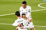 Real Madrid's Marco Asensio, Lucas Vazquez and Carlos Henrique Casemiro celebrate goal during UEFA Champions League Quarter-finals 1st leg match. April 6,2021.(ALTERPHOTOS/Acero)