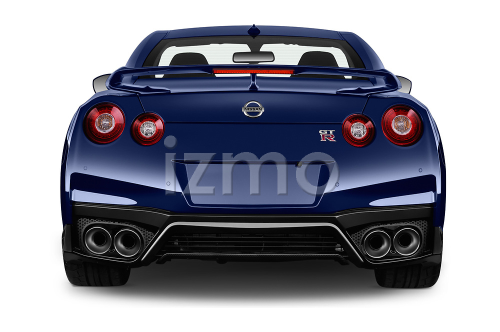 Straight rear view of a 2018 Nissan GT-R Track Edition 5 Door Coupe stock images