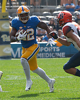 Pitt running back Darrin Hall (22). The Pitt Panthers defeated the Syracuse Orange 44-37 in overtime at Heinz Field in Pittsburgh, Pennsylvania on October 6, 2018.