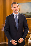 "King Felipe Vi of Spain during Royal Audience to a representation of young participating in the cultural program ""Ruta BBVA 2015"" at Zarzuela Palace in Madrid, July 28, 2015. <br /> (ALTERPHOTOS/BorjaB.Hojas)"