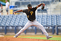 FCL Pirates Black pitcher Angel Suero (47) during a game against the FCL Rays on August 3, 2021 at Charlotte Sports Park in Port Charlotte, Florida.  (Mike Janes/Four Seam Images)
