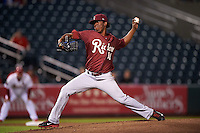 Frisco RoughRiders pitcher Edwar Cabrera (18) delivers a pitch during a game against the Springfield Cardinals on June 3, 2015 at Hammons Field in Springfield, Missouri.  Springfield defeated Frisco 7-2.  (Mike Janes/Four Seam Images)