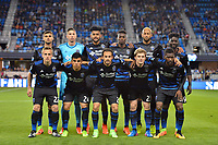 San Jose, CA - Saturday, March 11, 2017: San Jose Earthquakes Starting Eleven prior to a Major League Soccer (MLS) match between the San Jose Earthquakes and the Vancouver Whitecaps FC at Avaya Stadium.
