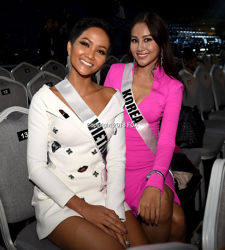 BANGKOK, THAILAND - DECEMBER 15: 2018 MISS UNIVERSE: L-R: Miss Vietnam H'Hen Nie and Miss Korea Ji Hyun Beak     during rehearsals for the 2018 MISS UNIVERSE competition at the Impact Arena in Bangkok, Thailand on December 15, 2018. Miss Universe will air live on Sunday, Dec. 16 (7:00-10:00 PM ET live/PT tape-delayed) on FOX.  (Photo by Frank Micelotta/FOX/PictureGroup)