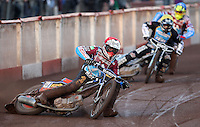 Heat 1: Peter Karlsson (red), Richie Worrall (yellow) and Kim Nilsson (blue) - Lakeside Hammers vs Kings Lynn Stars, Elite League Speedway at the Arena Essex Raceway, Pufleet - 23/04/13 - MANDATORY CREDIT: Rob Newell/TGSPHOTO - Self billing applies where appropriate - 0845 094 6026 - contact@tgsphoto.co.uk - NO UNPAID USE.