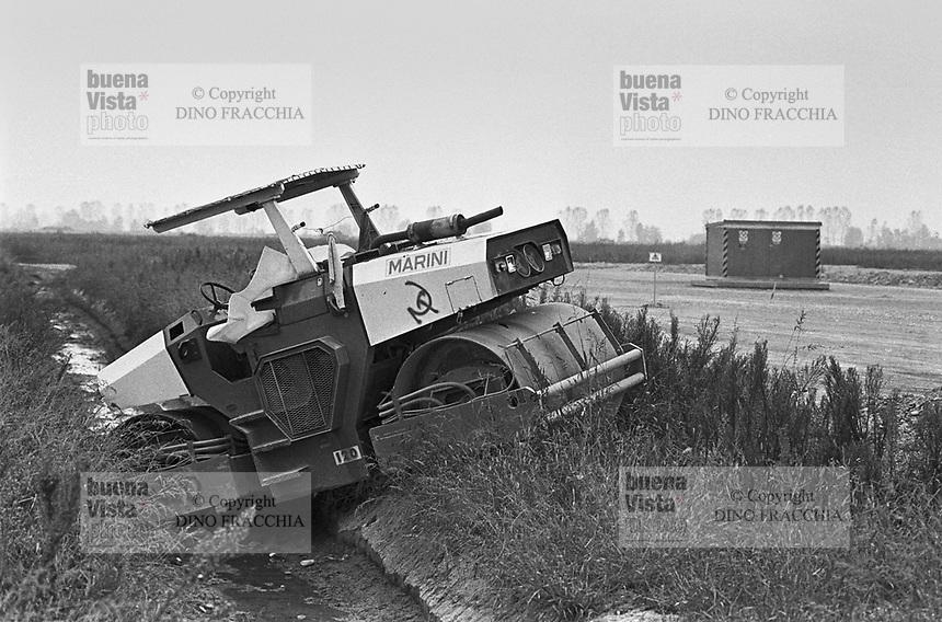 - block of construction yard for the second nuclear power station of Trino Vercellese, equipments sabotage  (October 1986)<br /> <br /> - blocco del cantiere per la costruzione della seconda centrale nucleare di Trino Vercellese, sabotaggio delle macchine (ottobre 1986)
