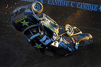 Dec. 10, 2011; Chandler, AZ, USA;  LOORRS pro two unlimited driver Rob MacCachren crashes during round 15 at Firebird International Raceway. Mandatory Credit: Mark J. Rebilas-