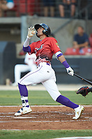 Joel Booker (2) of the Winston-Salem Dash follows through on his swing during the 2018 Carolina League All-Star Classic at Five County Stadium on June 19, 2018 in Zebulon, North Carolina. The South All-Stars defeated the North All-Stars 7-6.  (Brian Westerholt/Four Seam Images)