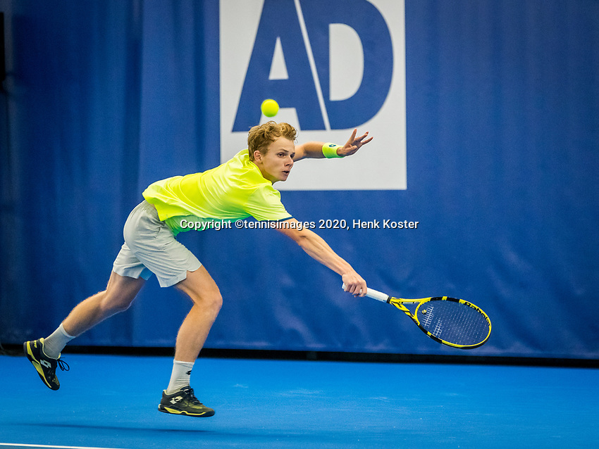 Amstelveen, Netherlands, 17  December, 2020, National Tennis Center, NTC, NK Indoor, National  Indoor Tennis Championships,   :  Jesper de Jong (NED) <br /> Photo: Henk Koster/tennisimages.com