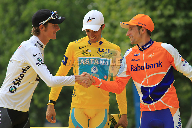 Alberto Contador (Astana) overall winner, Andy Schleck (Saxo Bank) 2nd place and Denis Menchov (Rabobank) 3rd on the podium at the end of the final Stage 20 of the 2010 Tour de France from Longjumeau to Paris Champs-Elysees, 25th July 2010 (Photo by Eoin Clarke/NEWSFILE)