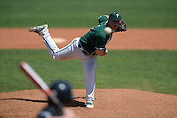 Plymouth State Panthers pitcher Dallas DeFrancesco (4) during the second game of a doubleheader against the Edgewood Eagles on March 17, 2015 at Terry Park in Fort Myers, Florida.  Edgewood defeated Plymouth State 9-2.  (Mike Janes/Four Seam Images)