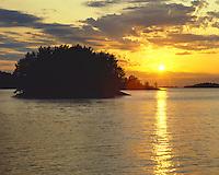 Sunset on Lake Kabetomage; Voyageurs National Park, MN