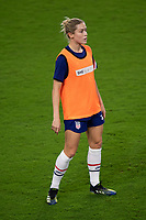 ORLANDO CITY, FL - FEBRUARY 18: Abby Dahlkemper #7 warms up prior to a game between Canada and USWNT at Exploria stadium on February 18, 2021 in Orlando City, Florida.