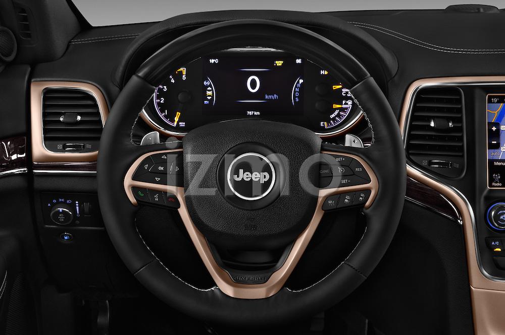 Car pictures of steering wheel view of a 2016 JEEP Grand-Cherokee Overland 5 Door Suv Steering Wheel