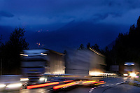 Throughout the Alps, tunnels carrying fast -moving car and truck traffic are a more direct route through the mountains than over high often snow covered passes.