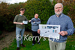 Tom Crean's grandson Enda O'Brien and his sons Marcus and Hugh at home in Tralee on Tuesday, displaying the An Post stamp commemorating his grandfather and other Antarctic explorers. Front right: Enda O'Brien. Back l to r: Marcus, Hugh and Enda O'Brien.