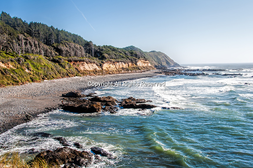 A summer afternoon at Strawberry Hill Beach near Yachats, Oregon.