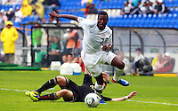 .Action photo of Levent Aycicek (L) of Germany and Alfred Koroma (R) of USA, during game of the FIFA Under 17 World Cup game, held at Queretaro.