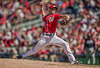 6 April 2014: Washington Nationals pitcher Taylor Jordan on the mound against the Atlanta Braves at Nationals Park in Washington, DC. The Nationals defeated the Braves 2-1 to salvage the last game of their 3-game series. Mandatory Credit: Ed Wolfstein Photo *** RAW (NEF) Image File Available ***