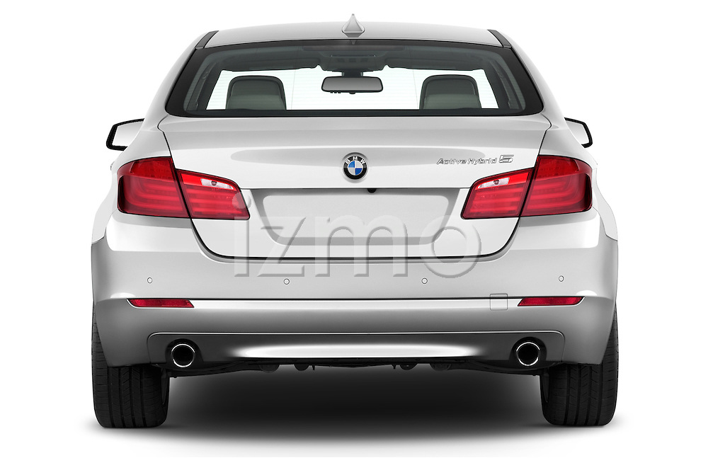 Straight rear view of a 2013 Bmw SERIES 5 ActiveHybrid 5 4 Door Sedan 2WD