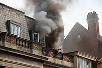 BNPS.co.uk (01202) 558833. <br /> Pic: CorinMesser/BNPS<br /> <br /> Pictures: Thick smoke issues from the building. <br /> <br /> Fire fighters attend the scene of a serious blaze in Bournemouth town centre this afternoon. <br /> <br /> The fire, which appeared to start in a third floor flat, spread through the roof of the building engulfing much of the town in smoke.
