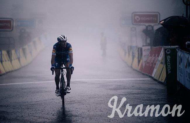 Philippe Gilbert (BEL/Deceuninck-Quickstep) crosses the finish line as a thick mist engulfs the area<br /> <br /> Stage 7: Saint-Genix-les-Villages to Pipay  (133km)<br /> 71st Critérium du Dauphiné 2019 (2.UWT)<br /> <br /> ©kramon