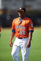 GCL Astros first baseman Cristopher Luciano (23) during warmups before the first game of a doubleheader against the GCL Mets on August 5, 2016 at Osceola County Stadium Complex in Kissimmee, Florida.  GCL Astros defeated the GCL Mets 4-1 in the continuation of a game started on July 21st and postponed due to inclement weather.  (Mike Janes/Four Seam Images)