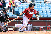 Nashville Sounds outfielder Caleb Gindl (13) at bat during a game against the Omaha Storm Chasers on May 20, 2014 at Herschel Greer Stadium in Nashville, Tennessee.  Omaha defeated Nashville 4-1.  (Mike Janes/Four Seam Images)