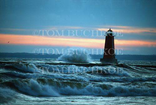 Manistique lighthouse on Lake Michigan.