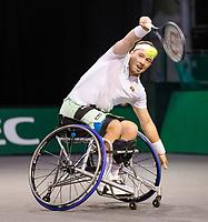Rotterdam, The Netherlands,7 march  2021, ABNAMRO World Tennis Tournament, Ahoy,  <br /> Wheelchair final: Alfie Hewett (GBR).<br /> Photo: www.tennisimages.com/