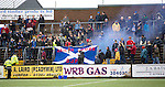 Forfar Athletic v St Johnstone....08.02.14   Scottish Cup 5th Round<br /> St Johnstone fans let off a flare/smoke bomb.<br /> Picture by Graeme Hart.<br /> Copyright Perthshire Picture Agency<br /> Tel: 01738 623350  Mobile: 07990 594431