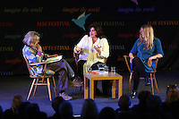 Wednesday 28 May 2014, Hay on Wye, UK<br /> Pictured L-R: Rosie Boycott speaks to Diana Henry and food stylist Anna Jones.<br /> Re: The Hay Festival, Hay on Wye, Powys, Wales UK.