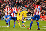 Atletico de Madrid Yannick Carrasco, /at08 and Stefan Savic and UD Las Palmas Roque Mesa during La Liga match between Atletico de Madrid and UD Las Palmas at Vicente Calderon Stadium in Madrid, Spain. December 17, 2016. (ALTERPHOTOS/BorjaB.Hojas)